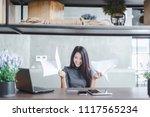 young pretty joyful brunette...   Shutterstock . vector #1117565234
