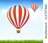 hot air balloons floating in... | Shutterstock .eps vector #111757460