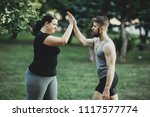 good job. plus size woman... | Shutterstock . vector #1117577774