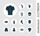 physique icons set with ear ... | Shutterstock . vector #1117580249