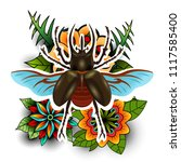 colorful vector of big beetle... | Shutterstock .eps vector #1117585400