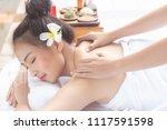 beautiful asian woman lying... | Shutterstock . vector #1117591598
