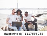 beautiful multi ethnic friends... | Shutterstock . vector #1117595258