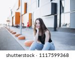 close up outdoor portrait of a... | Shutterstock . vector #1117599368