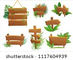 jungle rainforest wood sign... | Shutterstock .eps vector #1117604939