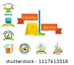 cleaning service emblems labels ... | Shutterstock .eps vector #1117613318