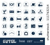 hotel and service web icons set.... | Shutterstock .eps vector #111763214
