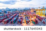 container ship in export and... | Shutterstock . vector #1117645343