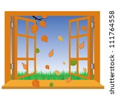 open a window to the autumn... | Shutterstock .eps vector #111764558