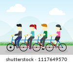 family are riding on bicycles | Shutterstock .eps vector #1117649570