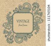 vintage frame with floral... | Shutterstock .eps vector #111765104
