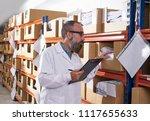 warehouse supervisor manager...   Shutterstock . vector #1117655633
