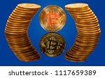Single Bitcoin Coin Reflected...