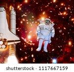 rocket  shuttle   astronaut in... | Shutterstock . vector #1117667159