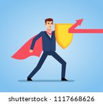 businessman holds golden shield ... | Shutterstock .eps vector #1117668626