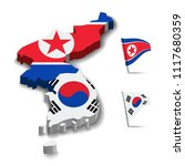 flag of north korea and south... | Shutterstock .eps vector #1117680359