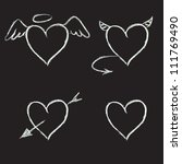 set of hand drawn hearts on... | Shutterstock .eps vector #111769490