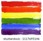 rainbow. hand drawn watercolor... | Shutterstock . vector #1117695146