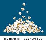 popcorn fall down on heap... | Shutterstock .eps vector #1117698623