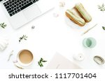home office desk frame mock up...   Shutterstock . vector #1117701404