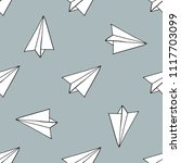 paper airplane seamless pattern | Shutterstock .eps vector #1117703099