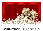movie theater with red blinds.... | Shutterstock .eps vector #1117704416
