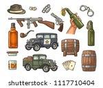 gangster mafia set. engraving... | Shutterstock .eps vector #1117710404