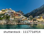 seafront view of positano town... | Shutterstock . vector #1117716914