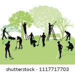 gardening  garden with gardeners | Shutterstock .eps vector #1117717703