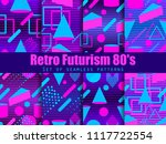 retro futurism seamless pattern ... | Shutterstock .eps vector #1117722554