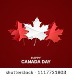 happy canada day card on red... | Shutterstock .eps vector #1117731803