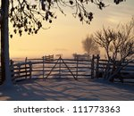 Pasture At Winter Sunset With...