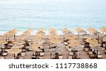 azure coast with straw... | Shutterstock . vector #1117738868