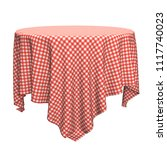 white and red round table cloth ... | Shutterstock . vector #1117740023