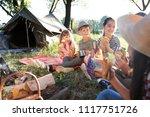 little children eating... | Shutterstock . vector #1117751726