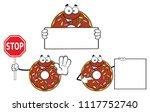 chocolate donut cartoon mascot...   Shutterstock .eps vector #1117752740