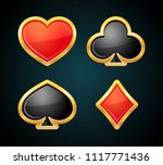 playing card suit with gold... | Shutterstock .eps vector #1117771436