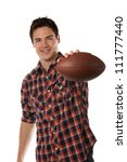 Casual Dressed Happy College Student Holding Football Isolated on White Background - stock photo
