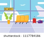 waiting room in airport. lounge ... | Shutterstock .eps vector #1117784186