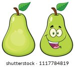 pear fruit with green leaf... | Shutterstock . vector #1117784819