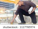 engineer with measure tape... | Shutterstock . vector #1117785974
