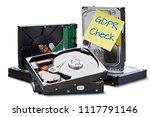 gdpr   several hard disks... | Shutterstock . vector #1117791146