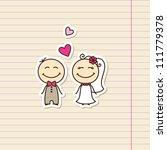 wedding card with cartoon groom ... | Shutterstock . vector #111779378