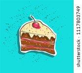 cute hand drawn tasty cake... | Shutterstock .eps vector #1117803749