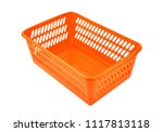 red plastic basket  isolated on ... | Shutterstock . vector #1117813118