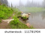Mountain lake in the fog with rock and flowers.. Naches Peak Loop Trail, - stock photo