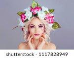 beautiful young woman beauty... | Shutterstock . vector #1117828949