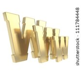 World wide web www glossy golden metal letter symbol isolated on white background - stock photo