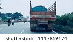 a large indian truck is running ... | Shutterstock . vector #1117859174