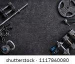 sports equipment on a black... | Shutterstock . vector #1117860080